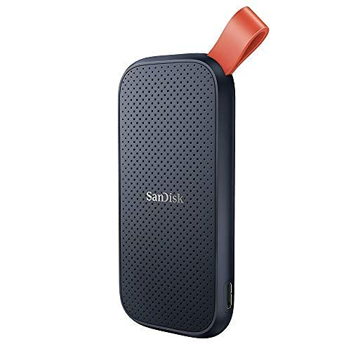 SanDisk Portable SSD 1 TB (externe Festplatte mit SSD Technologie 2,5 Zoll, 520 MB/s Übertragungsraten, robustes Laufwerk, robuste Befestigungsschlaufe aus strapazierfähigem Gummi) grau