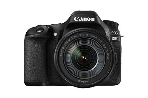 Canon EOS 80D DSLR Digitalkamera inkl. EF-S 18-135mm F3.5-5.6 IS USM Objektiv (24,2 Megapixel, 7,7 cm (3 Zoll) Display, DIGIC 6 Bildprozessor, NFC und WLAN, Full HD), schwarz