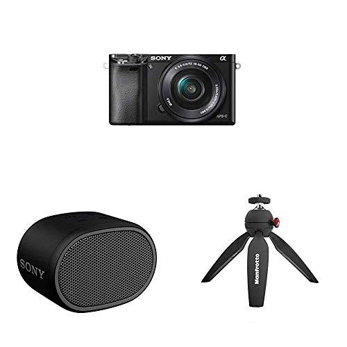 Sony Alpha 6000 Systemkamera inkl. SEL-P1650, Sony SRS-XB01 tragbarer Bluetooth Lautsprecher und Manfrotto Pixi Stativ