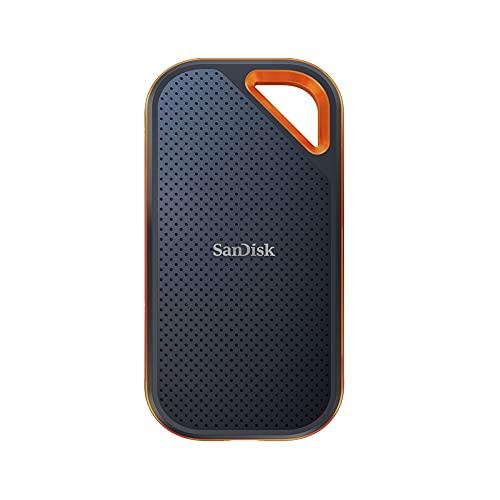 SanDisk Extreme PRO Portable SSD externe SSD 2 TB (externe Festplatte mit SSD Technologie 2,5 Zoll, 2000 MB/s Lesen und Schreiben, stoßfest, AES-Verschlüsselung, wasser- und staubfest) grau