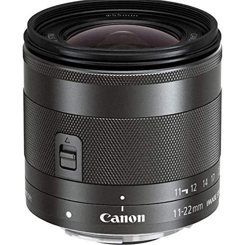 Canon Objektiv EF-M 11-22mm F4-5.6 IS STM Ultraweitwinkel für EOS M (55mm Filtergewinde, Bildstabilisator, Super Weitwinkel), schwarz