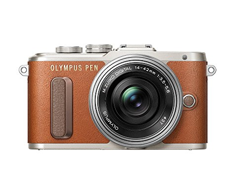 Olympus PEN E-PL8 Kit, Micro Four Thirds Systemkamera und M.Zuiko Digital ED 14-42 mm F3.5-5.6 EZ Zoomobjektiv, braun/schwarz