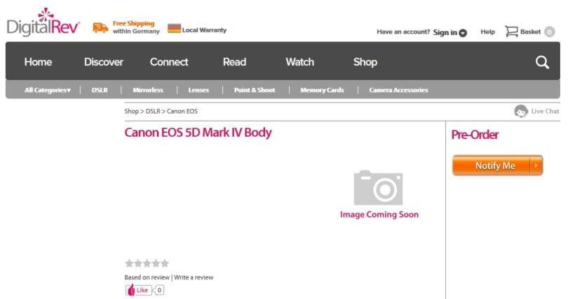 Canon EOS 5D Mark IV vorbestellen