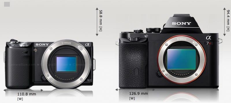 Sony A7 NEX 5 Größe Vergleich