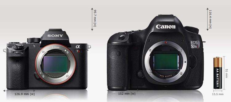 A7r II vs Canon EOS 5DS Größenvergleich 1