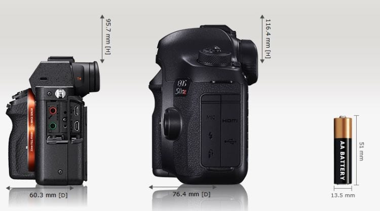A7r II vs Canon EOS 5DS Größenvergleich 2