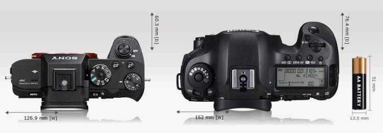 A7r II vs Canon EOS 5DS Größenvergleich 3