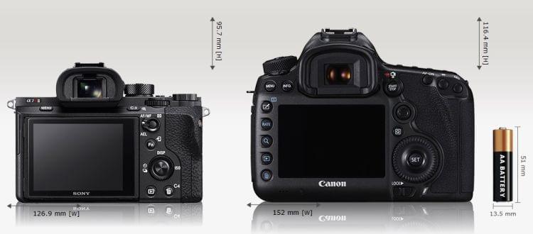 A7r II vs Canon EOS 5DS Größenvergleich 4