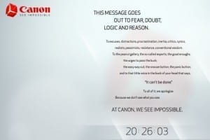 Canon Teaser impossible