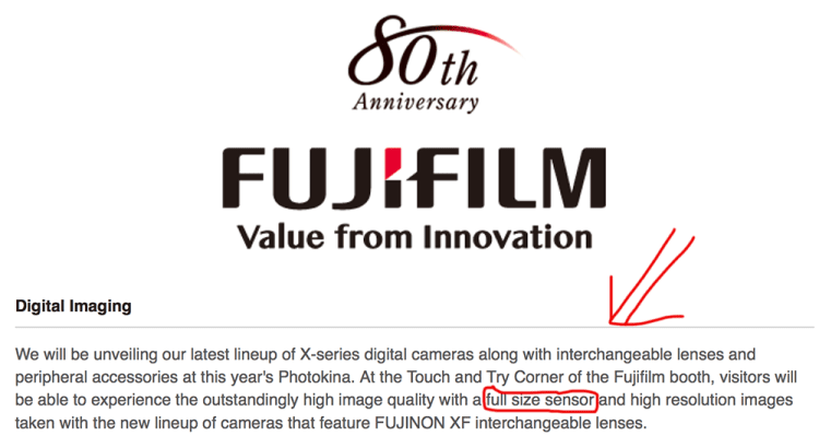 Fujifilm full size sensor