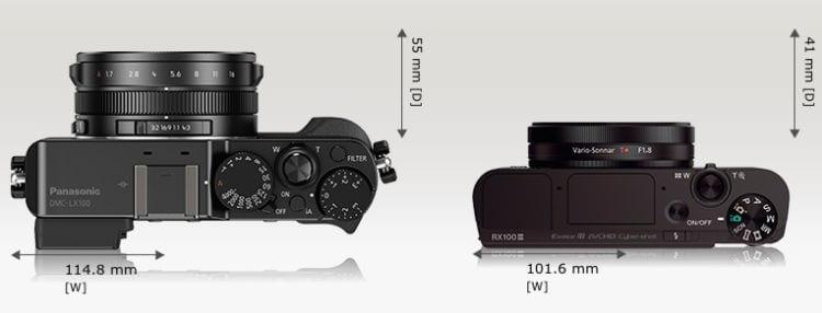 LX100 Sony RX 100 III Größe 2
