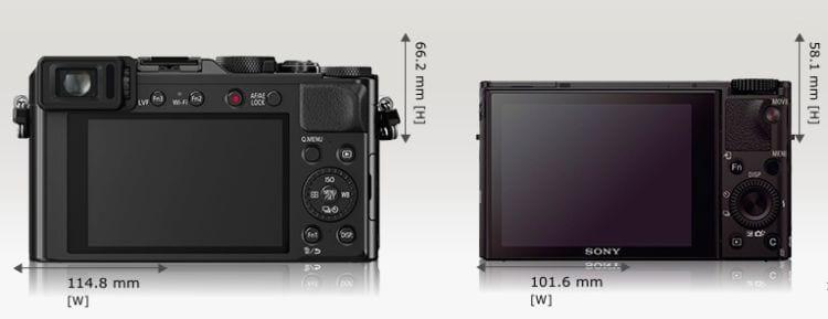 LX100 Sony RX 100 III Größe 3
