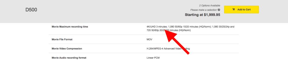 Nikon D500 3 Minuten 4K