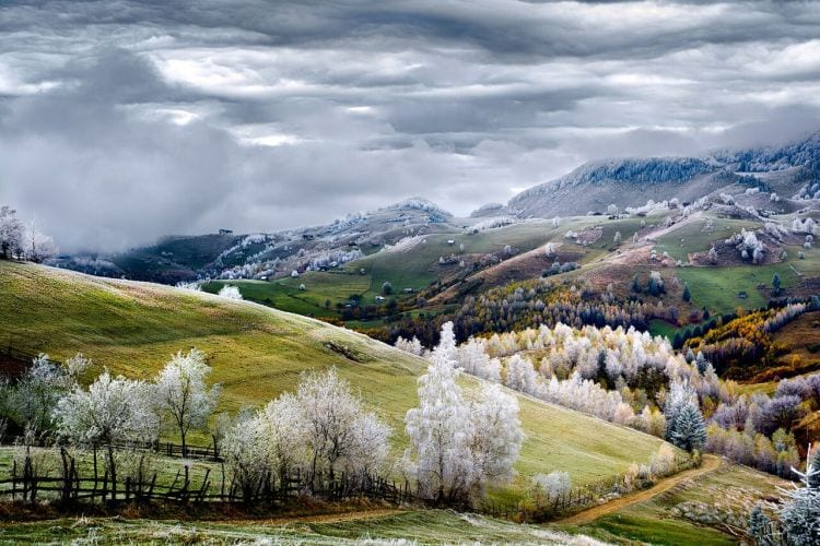 Romania, Land of Fairy Tales Whitefrost over Pestera village in Romania.  Photo and caption by Eduard Gutescu/National Geographic Traveler Photo Contest