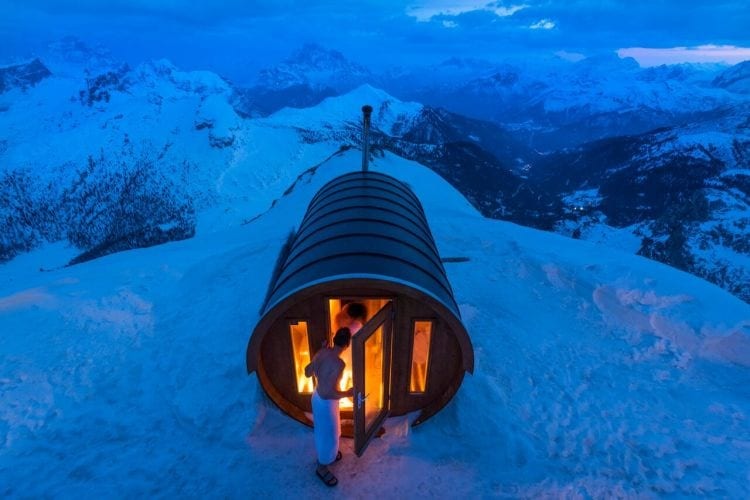 Sauna in the Sky A sauna at 2.800 mt high, in the heart of Dolomites. Monte Lagazuoi, Cortina, eastern Italian Alps.  Photo and caption by Stefano Zardini/National Geographic Traveler Photo Contest